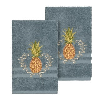 Authentic Hotel and Spa Turkish Cotton Pineapple Embroidered Teal Blue 2-piece Towel Hand Set