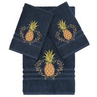 Authentic Hotel and Spa Turkish Cotton Pineapple Embroidered Midnight Blue 3-piece Towel Set