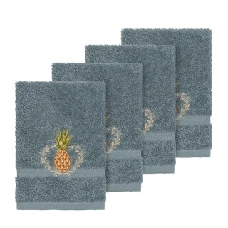 Authentic Hotel and Spa Turkish Cotton Pineapple Embroidered Teal Blue 4-piece Washcloth Set