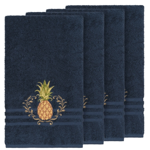 Authentic Hotel and Spa Turkish Cotton Pineapple Embroidered Midnight Blue 4-piece Bath Towel Set
