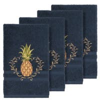 Authentic Hotel and Spa Turkish Cotton Pineapple Embroidered Midnight Blue 4-piece Hand Towel Set
