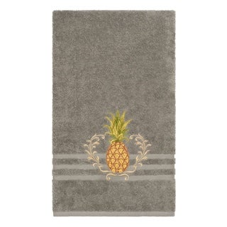 Authentic Hotel and Spa Turkish Cotton Pineapple Embroidered Dark Grey Bath Towel