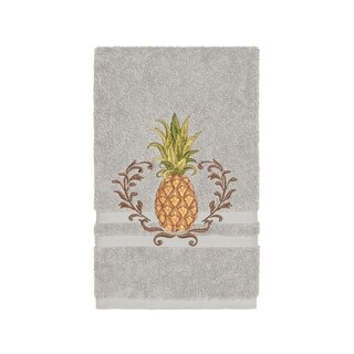 Authentic Hotel and Spa Turkish Cotton Pineapple Embroidered Light Grey Hand Towel