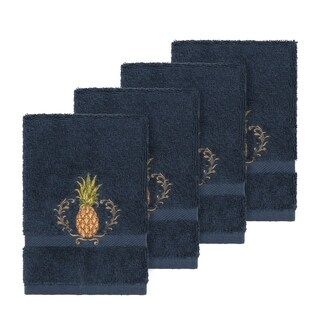Authentic Hotel and Spa Turkish Cotton Pineapple Embroidered Midnight Blue 4-piece Washcloth Set