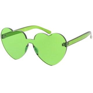 "MLC Urban Modern ""I Luv U"" Mono Block Rimless Flat Lens Heart Shape Sunglasses"