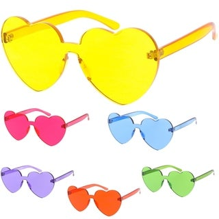 "MLC Urban Modern ""I Luv U"" Mono Block Rimless Flat Lens Heart Shape Sunglasses"