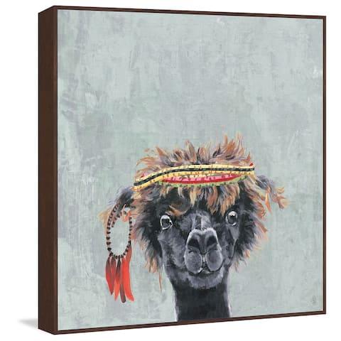 Marmont Hill - Handmade Hippie Llama Floater Framed Print on Canvas