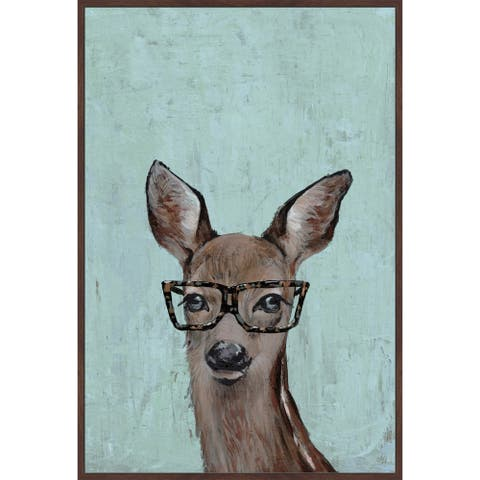 Marmont Hill - Handmade Brown Hippie Deer II Floater Framed Print on Canvas