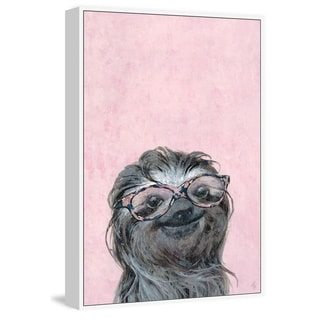 Marmont Hill - Handmade Sloth in Pink Floater Framed Print on Canvas