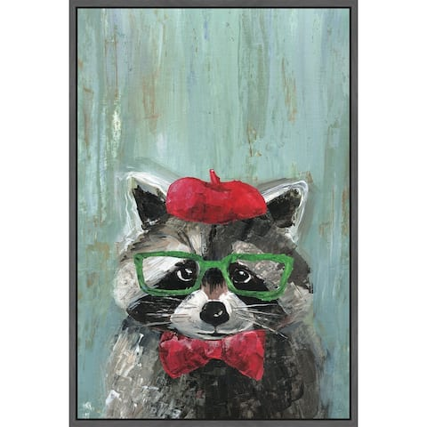 Marmont Hill - Handmade Raccoon the Painter Floater Framed Print on Canvas