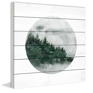 Marmont Hill - Handmade Forest Dusk Painting Print on White Wood