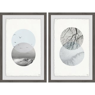 'Waves and Branches' Framed Painting Print - Multi-color