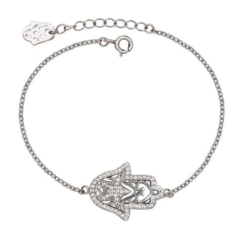 Curata 925 Sterling Silver 7-Inch Star Cubic Zirconia Side-ways Hamsa Hand of Gold Bracelet (15mm x 20mm)