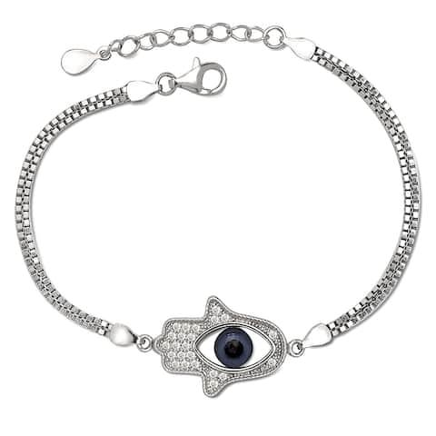 Curata 925 Sterling Silver 7-Inch Cubic Zirconia Side-ways Blue Enamel Hamsa Evil Eye Bracelet (15mm x 20mm)