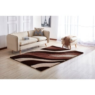 """Aria Collection"" Soft Pile Shag Area Rug (8-ft x 11-ft)"