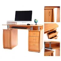 Office Workstation PC Laptop Table Computer Desk w/Drawers& Bookcase
