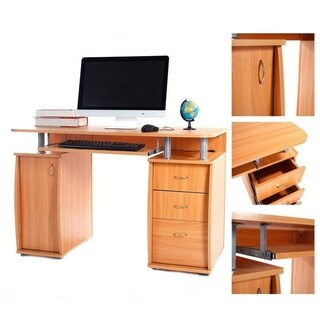 Office Workstation PC Laptop Table Computer Desk with Drawers and Bookcase