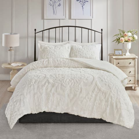 Madison Park Aeriela White 3 Piece Tufted Cotton Chenille Damask Comforter Set