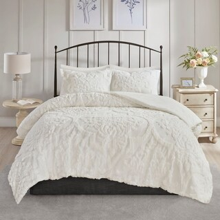 Madison Park Aeriela White 3 Piece Tufted Cotton Chenille Damask Comforter Set