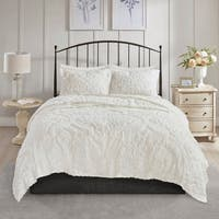 Madison Park Aeriela White 3 Piece Tufted Cotton Chenille Damask Coverlet Set