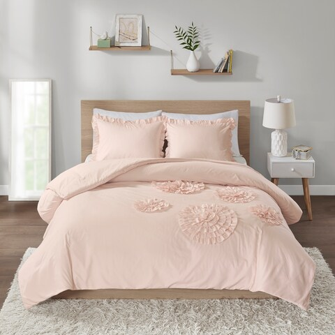 Intelligent Design Brianna Blush Solid Ruffle Floral Comforter Mini Set
