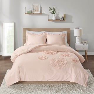 Intelligent Design Brianna Blush Solid Ruffle Floral Comforter Mini Set