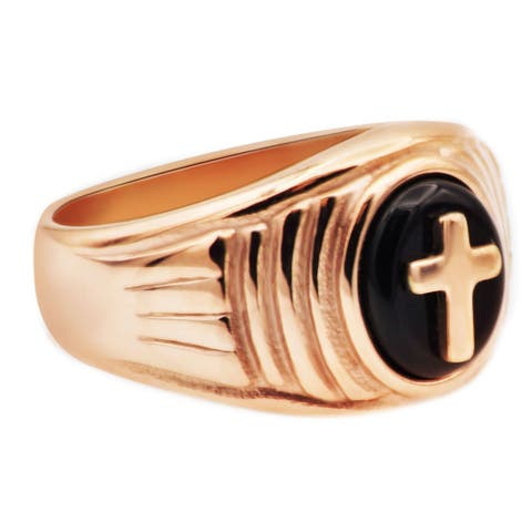 Divina Polished 18kt rose gold plated Stainless Steel and genuine onyx cross Ring