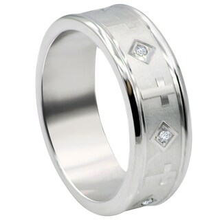 Divina Brushed and polished Stainless Steel Cubic Zirconia cross Ring