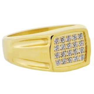 Divina Gold plated Stainless Steel Cubic Zirconia square Ring