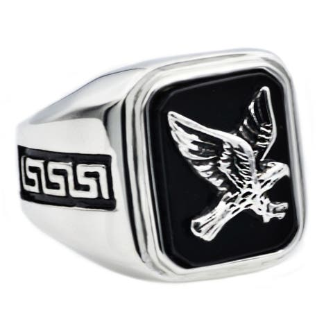 Divina Genuine onyx Stainless Steel eagle Ring