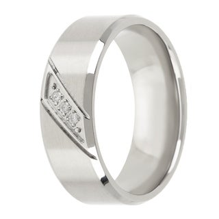 Divina Brushed and polished Stainless Steel Cubic Zirconia stripe Ring