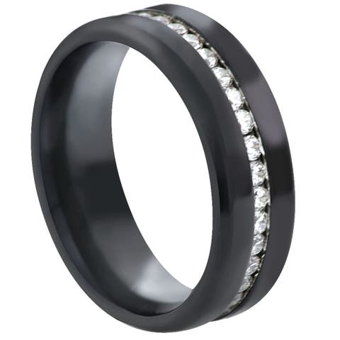 Divina Black Stainless Steel all around Cubic Zirconia Ring