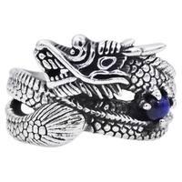 Divina Genuine Blue Tiger Eye Stainless Steel Men's Dragon Ring