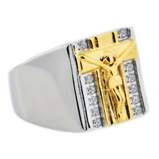Divina Two tone gold Stainless Steel crucifix Cubic Zirconia Ring