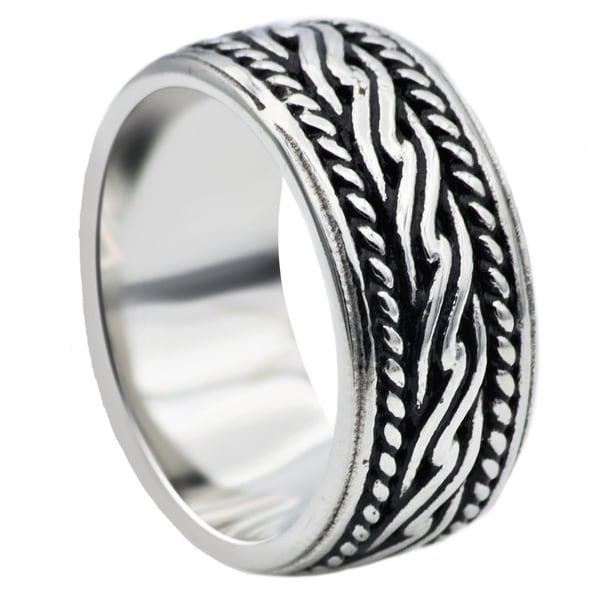 Divina Polished black/steel Stainless Steel celtic design Ring