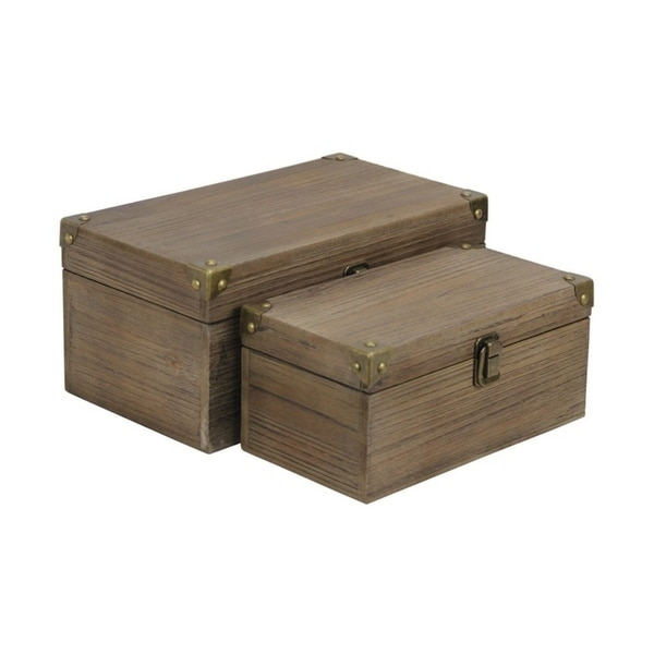 Cheung's Set of 2 Handmade Distressed Brown Wood Box with Bronze Corner Accent