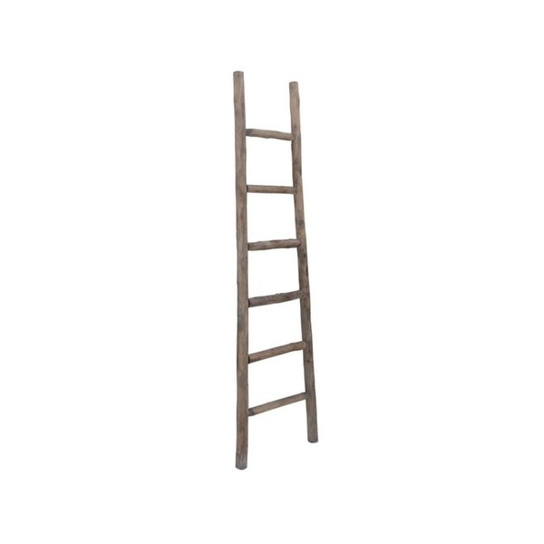 Cheung's Handmade Wooden Decorative Ladder in Brown Finish