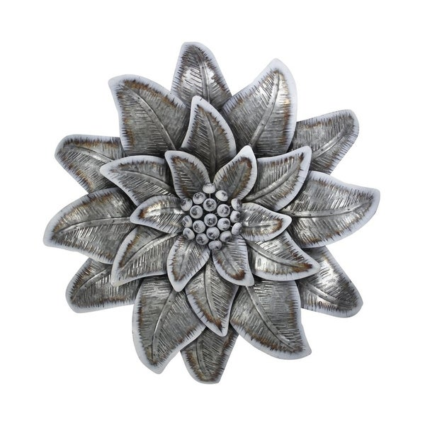 Cheung's Handmade Galvanized Metal Wall Flower with Buds - Gray