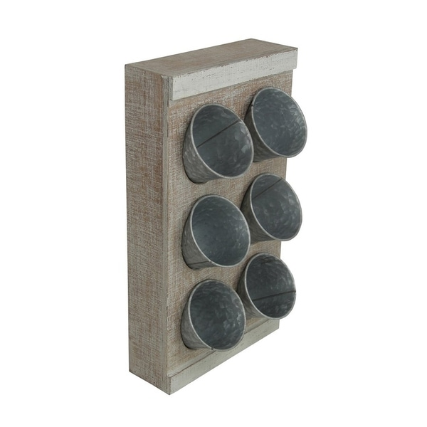 Cheung's Handmade Distressed 6 Metal Pot Wood Frame Wall Decor