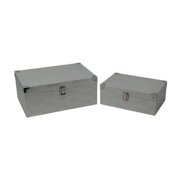 Cheung's Set of 2 Silver Wave Vinyl Storage Box with Chrome Corner Accent