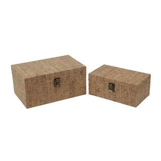 Cheung's Set of 2 Handmade Rectangular Cork Storage Box - Brown