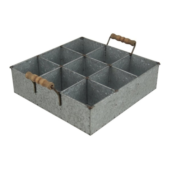 Cheung's 9 Compartment Galvanized Metal Caddy with Wood Grip Handles