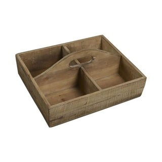 Cheung's Handmade 4 Compartment Wooden Caddy in Brown Finish
