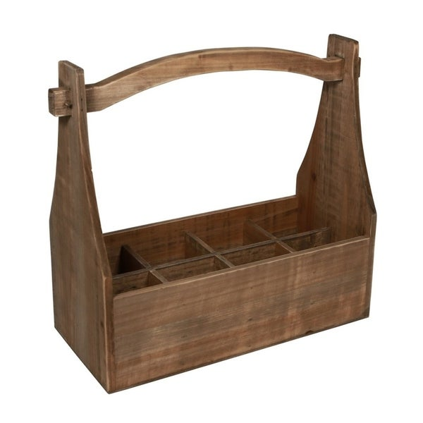 Cheung's 8 Compartment Wood Storage Caddy with High Handle - Brown