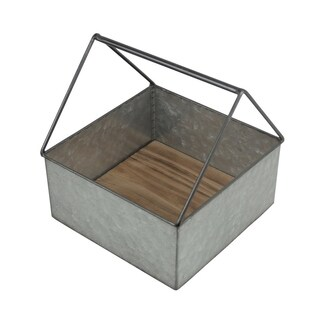 Cheung's Square Galvanized Metal Caddy with Handle and Wood Base - Gray