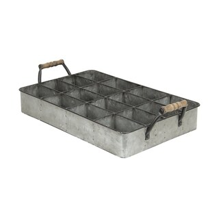 Cheung's Galvanized Metal 16 Compartment Caddy with Wood Grip Handles - Gray