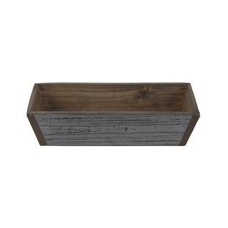 "Cheung's Handmade Wooden 14"" Gray Wash Ledge Planter"