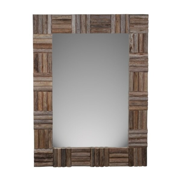 Cheung's Handmade Hand Crafted Brown Wood Frame Wall Mirror