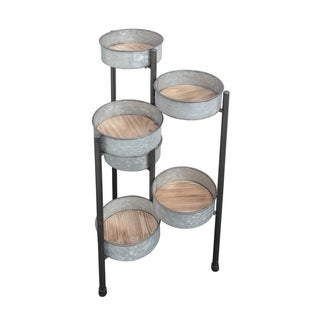 Cheung's 6 Pot Metal Folding Plant Stand with Wooden Base - Gray