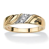 Men's Gold over Sterling Silver Diamond Accent Wedding Band Ring